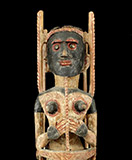 "cc27a: Malangan Figure. Wood, pigments, shell. H: 23.25"" (59 cm). Early to mid 20th century, New Ireland."